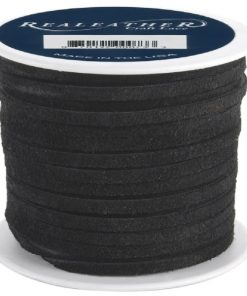 3mm Real Leather Suede Lace - Black (per metre)