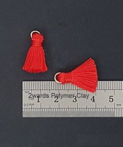 Pair of 20mm Silk Tassels with Jump Rings - Red